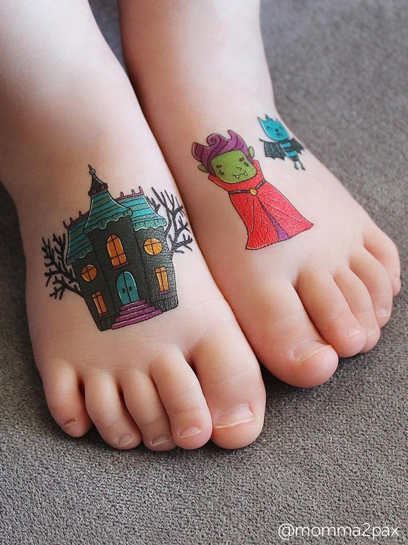 "Temporary tattoos set ""Dracula"" with witch, zmbie, black cat, spider, mummie, owl, bat, ghost kids tattoos for Halloween."