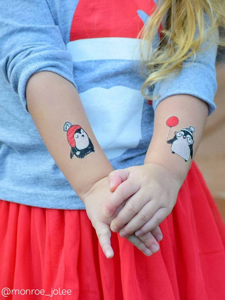 DUCKY STREET kids temporary Tattoo Penguins designed by Marina Zlochin - 1