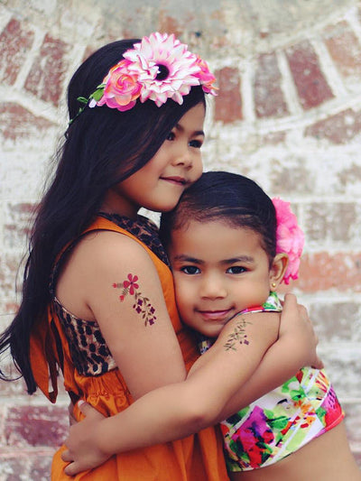 "Matching flower temporary tattoos from big tattoo set ""Flowers"". Gift for sisters and besties."