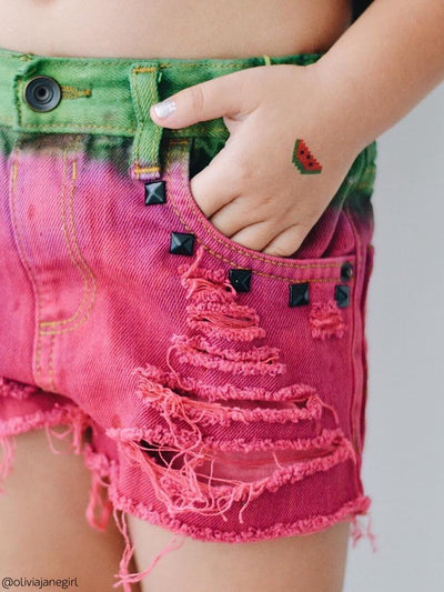 Pixelart watermelon fruit temporary tattoo from big 8 bit kids tattoos set by Ducky street