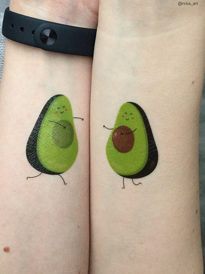 Funny gift for couples: avocado halfes in love temporary tattoos