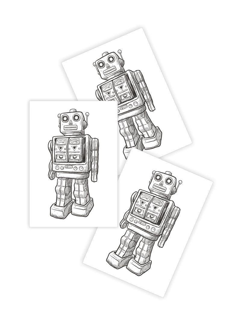 DUCKY STREET kids temporary Tattoo Robot designed by duckystreet - 1