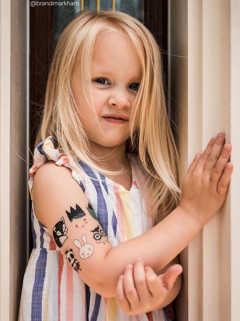 Temporary tattoos Sweet doodles. Set of 21 tattoos for toddlers in scandinavian style.