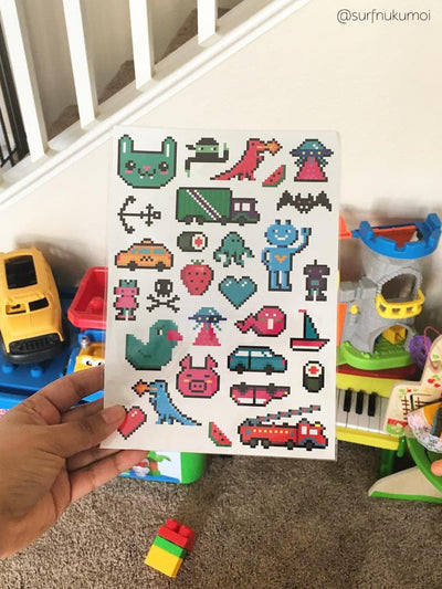 Big temporary tattoo sheet. Designed by Maria Kalyagina exclusivly for DUCKY STREET. Gift for pixelart and video games lovers.