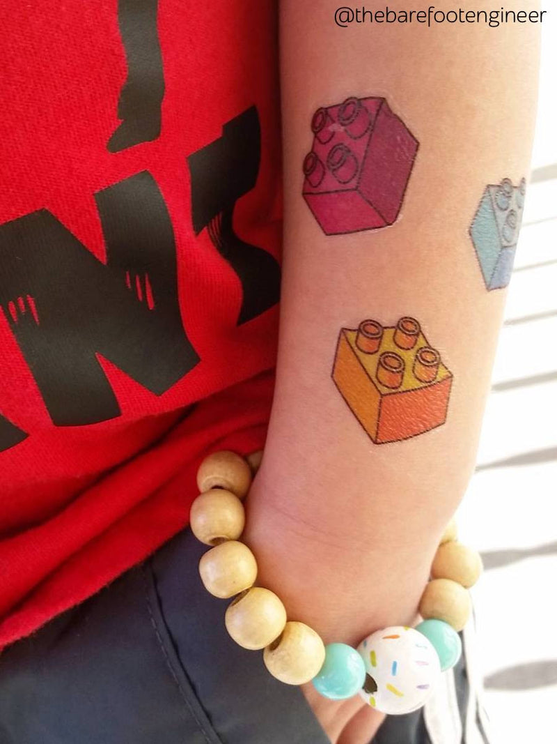 DUCKY STREET kids temporary Tattoo Bricks designed by Maria Kalyagina - 1