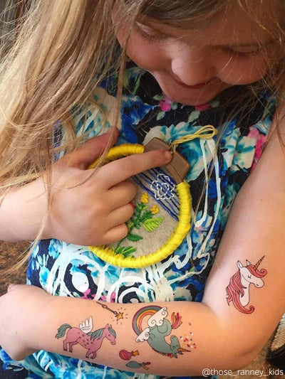 "Magic unicorns are girls best friends! Make the noise with ducky street temporary tattoos set ""Unicorns"" designed by Marina Zlochin."