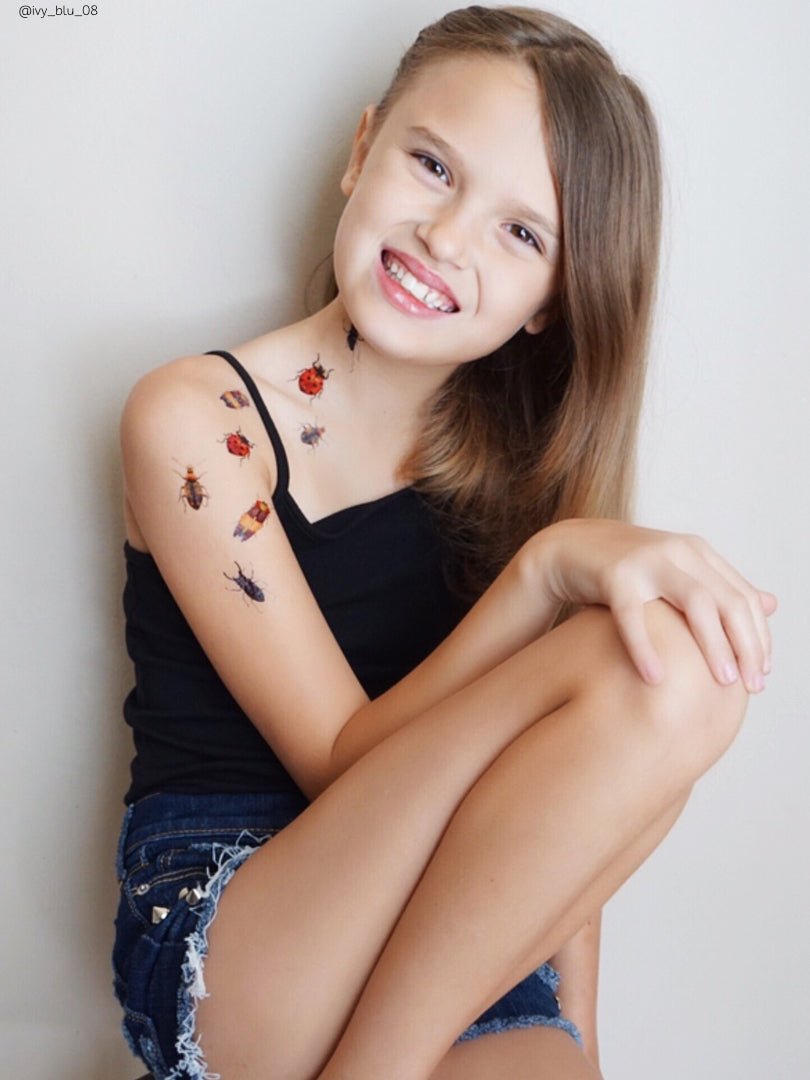 DUCKY STREET kids temporary Tattoo Beetles designed by Anastasia Lembrik - 1