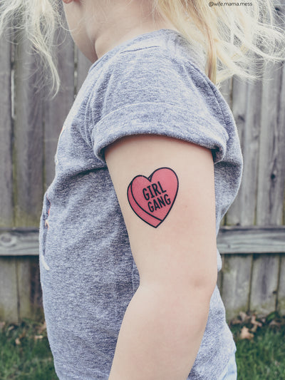 Girl Gang pink heart temporary tattoo. Because who runs the world? Girls!