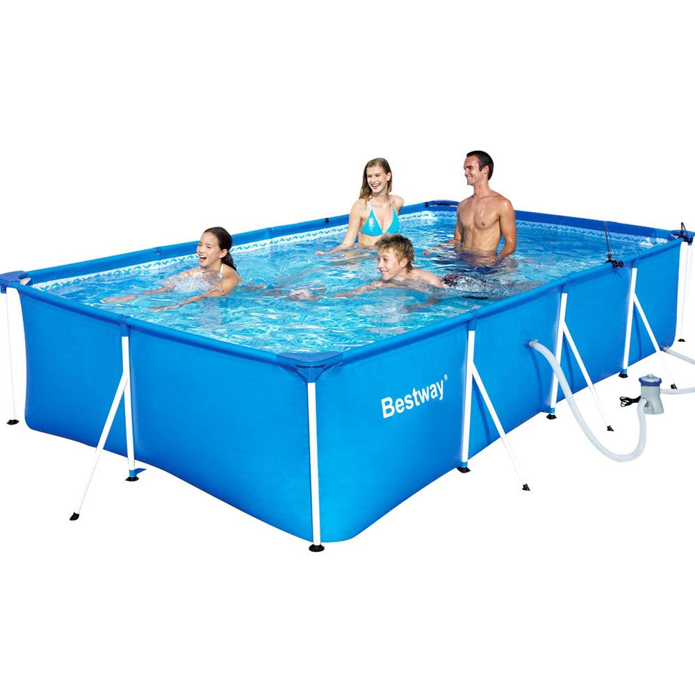 400 x 211 x 81cm Steel Frame Above Ground Family Swimming Pool with ...