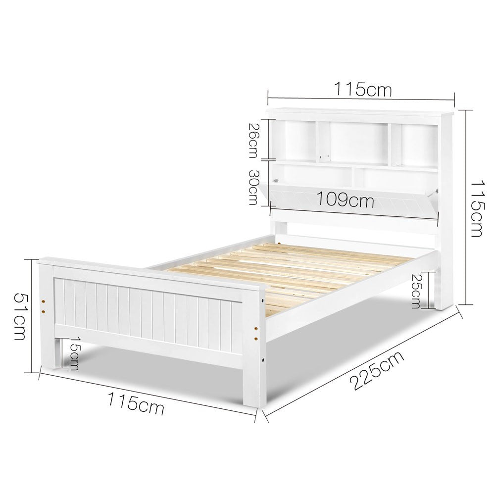 King Single White Timber Bed Frame with Bookshelf – Kingsbury Australia