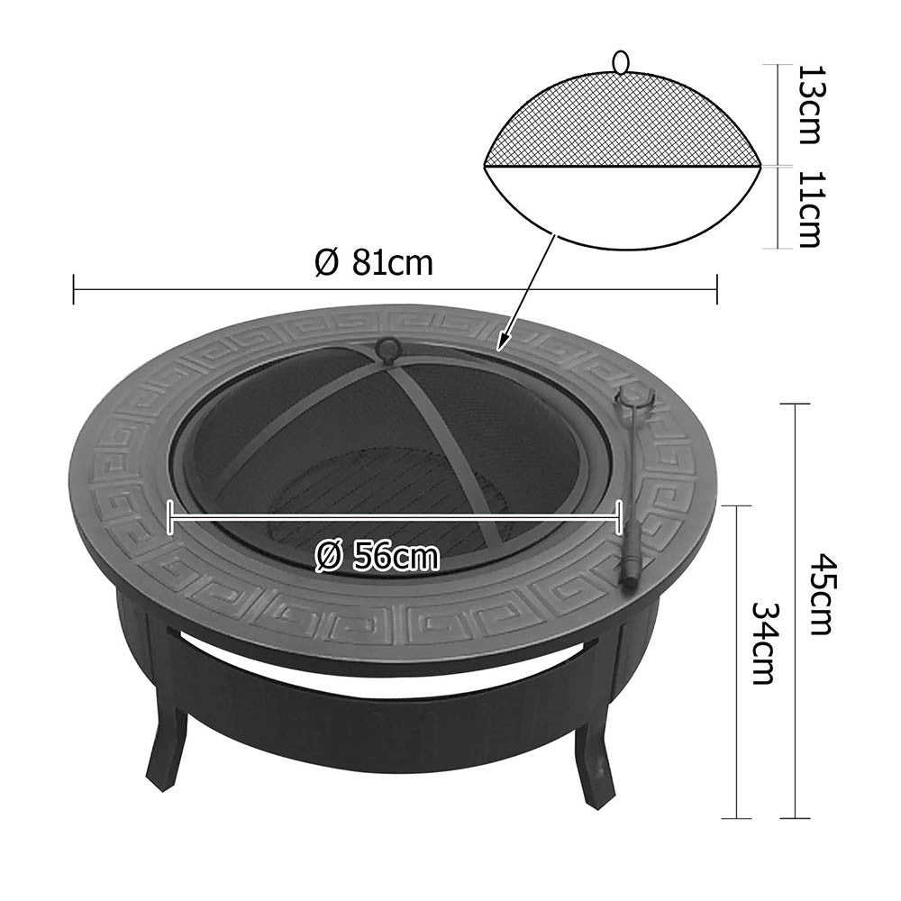 Multifunctional Round Bbq Grill Fire Pit Table Kingsbury Australia
