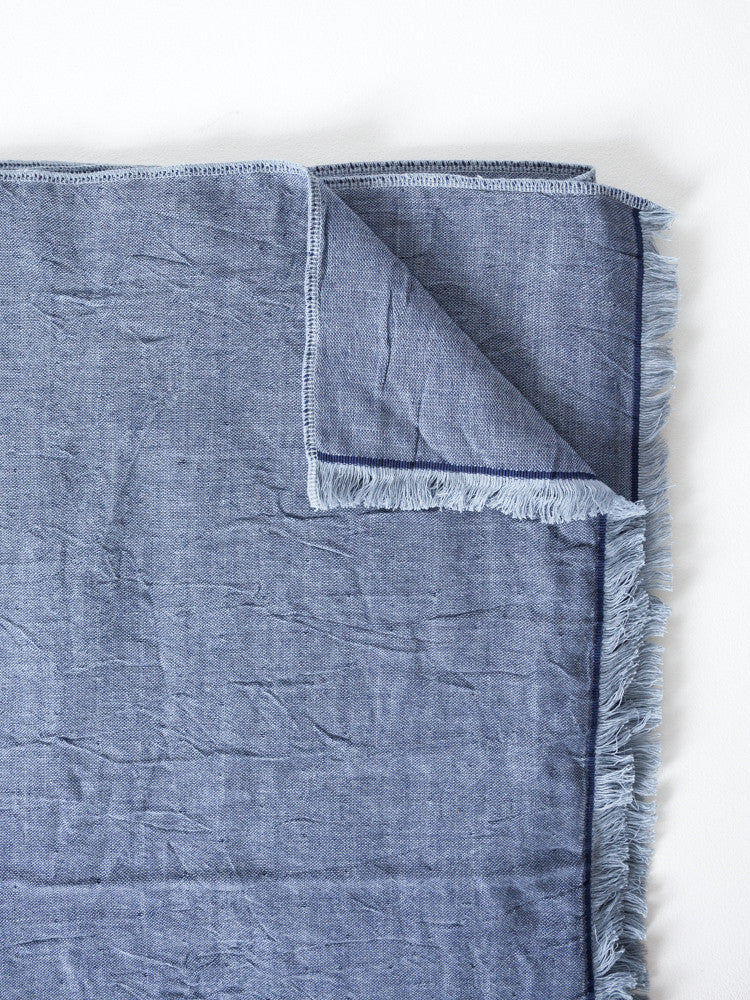 Chambray Gauze Blanket, Blue-Grey