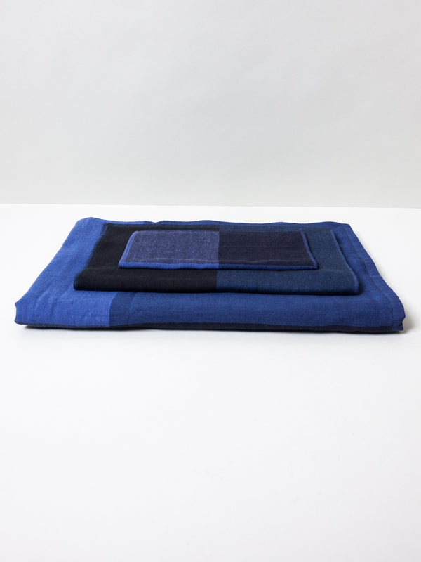 Chambray Block Towel, Blue/Black