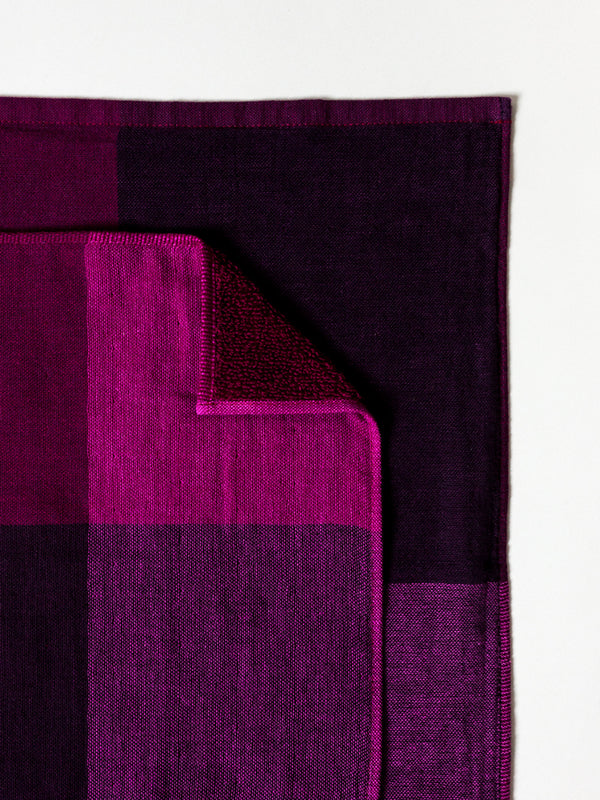 Chambray Block Towel, Purple/Black