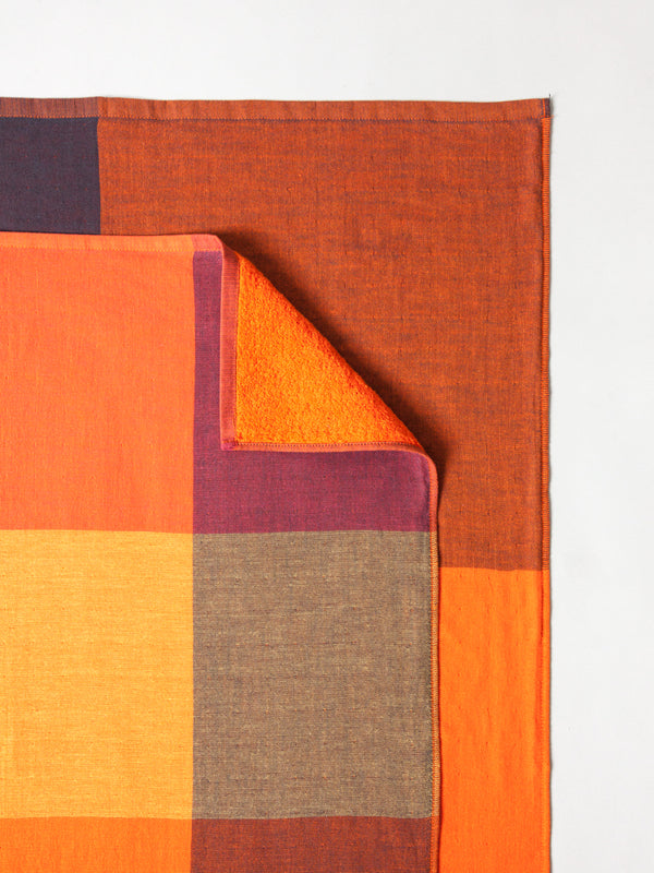 Chambray Block Towel, Orange/Black