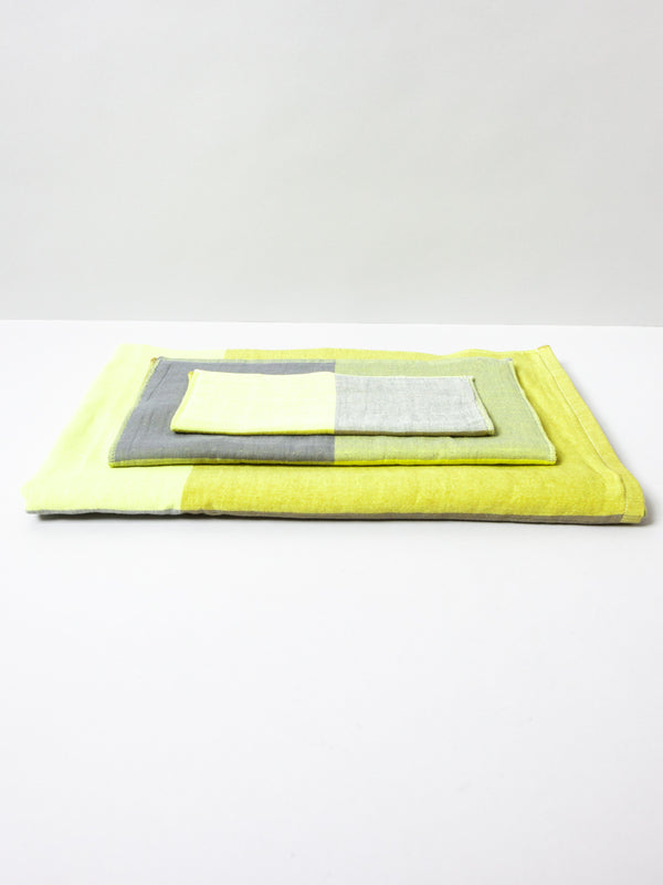 Chambray Block Towel, Yellow/Grey