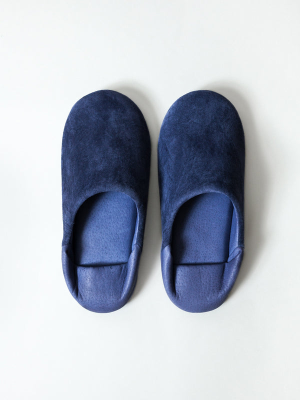 Leather Room Shoes, Navy