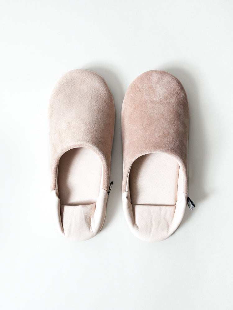 Leather Room Shoes, Pink-Beige