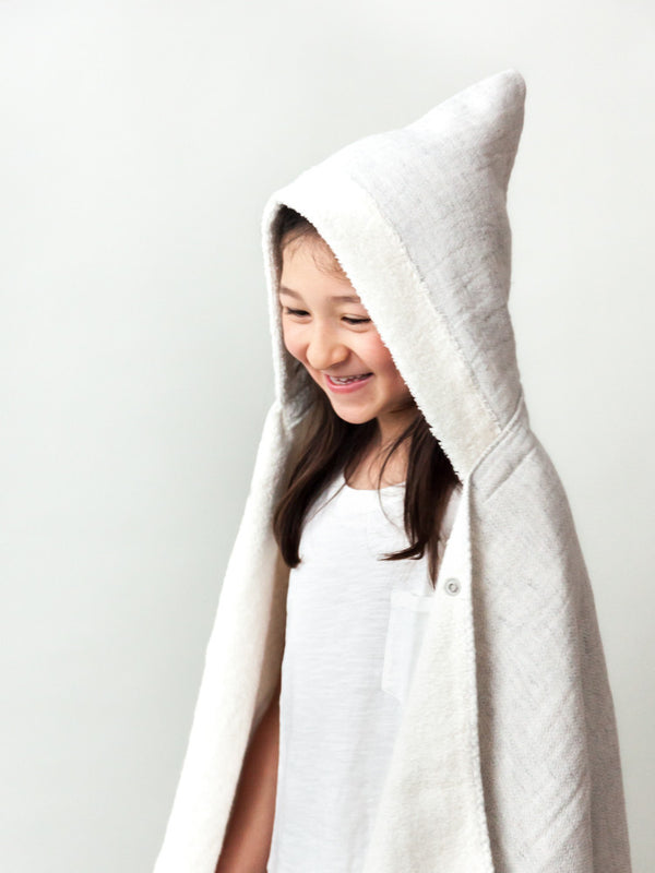 Claire Hooded Bath Towel, Silver Grey