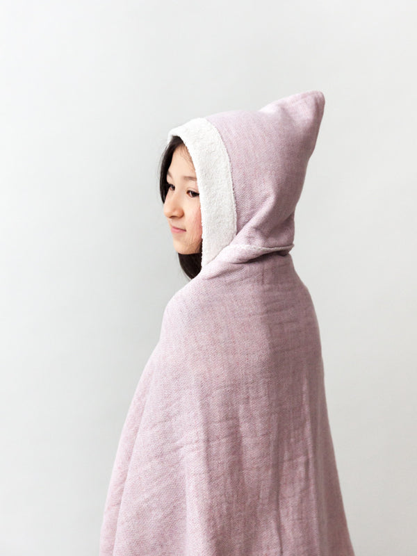 Claire Hooded Bath Towel, Smoky Pink