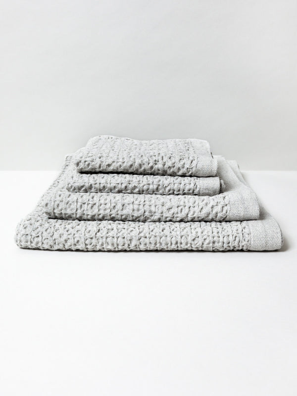 Lattice Linen Towel, Ice Grey