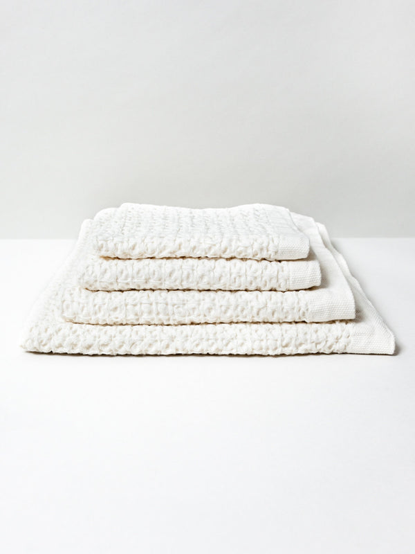 Lattice Linen Towel, Ivory