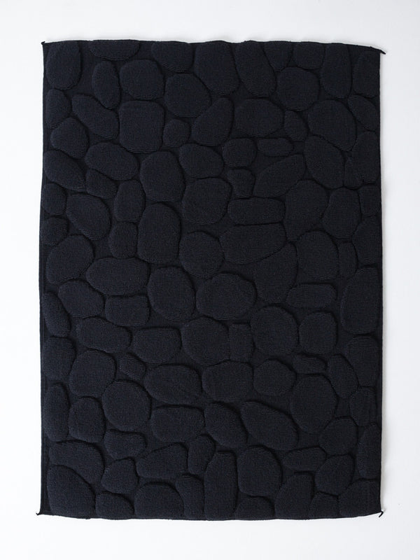 Ishikoro Pebble Stone Bath Mat, Black