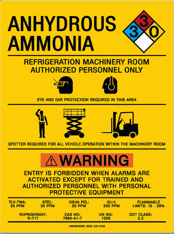 "Ammonia Machinery Room Placard (with spotter required), 20"" x 15"""