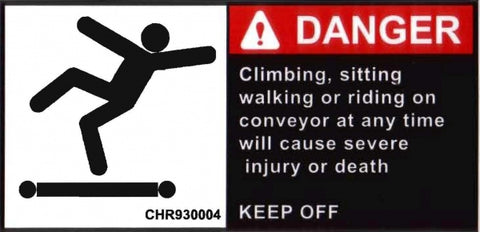 No Walking On Conveyor Label