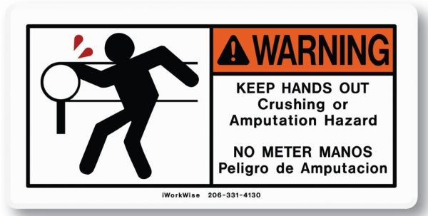 Warning, Keep Hands Out of Roller Placard