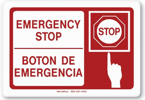 Emergency Stop Placard