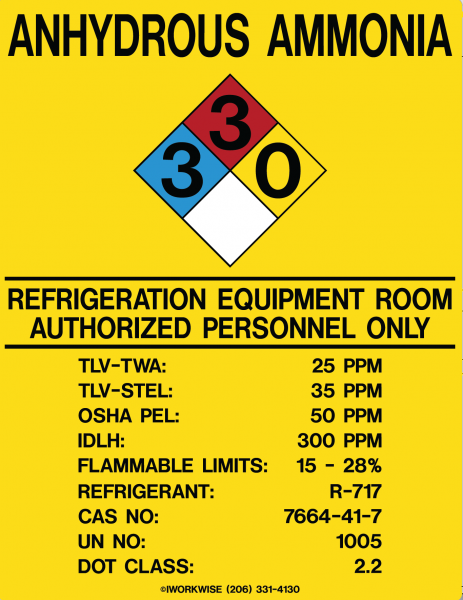 "Refrigeration Equipment Room Placard, 11"" x 8.5"""