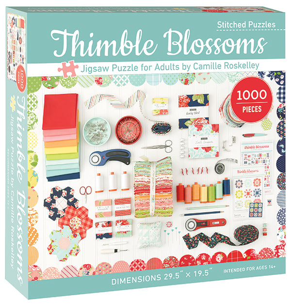 Thimble Blossoms Jigsaw Puzzle by Camille Roskelley.