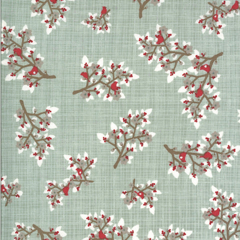 Juniper Brushed Flannel Frost Cardinals Yardage by Kate & Birdie for Moda Fabrics