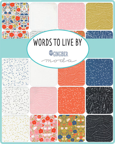 PREORDER Words To Live By Charm Pack by Gingiber for Moda Fabrics