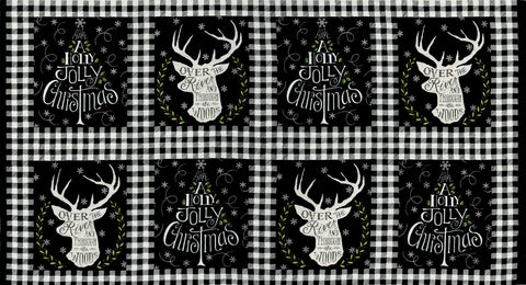 Hearthside Holiday Charcoal Black Panel by Deb Strain for Moda Fabrics