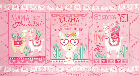 Llama Love Pretty Pink Panel by Deb Strain for Moda Fabrics