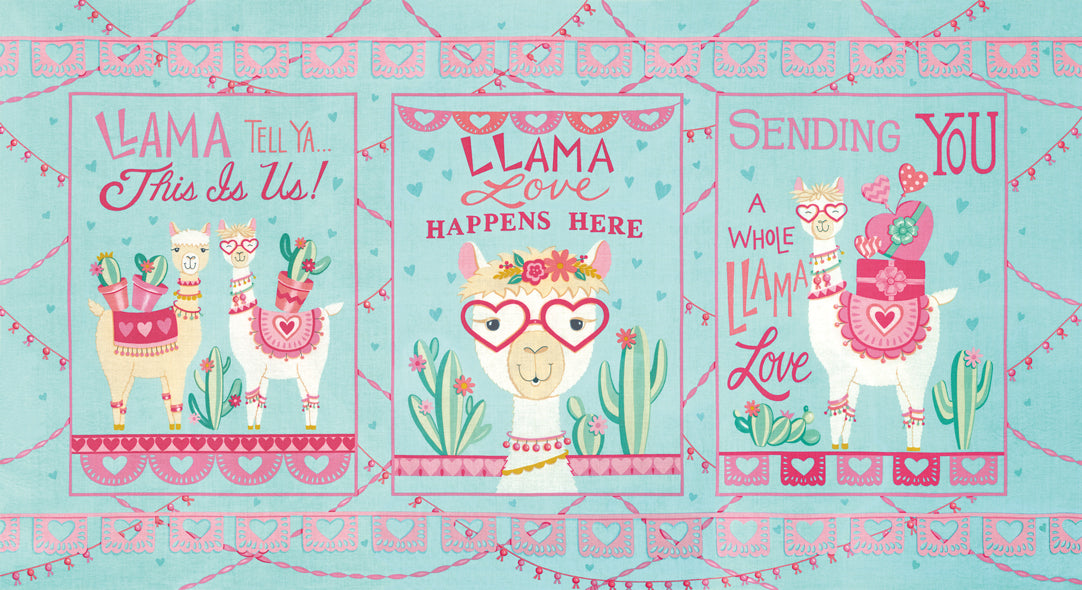 Llama Love Aqua Panel by Deb Strain for Moda Fabrics