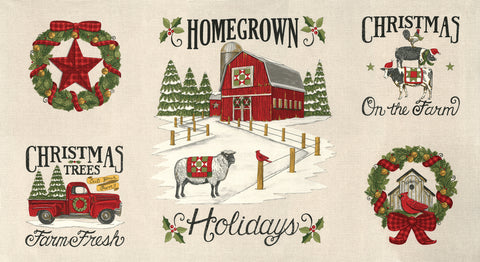 Homegrown Holidays Winter White Panel by Deb Strain for Moda Fabrics