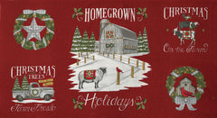 Homegrown Holidays Barn Red Panel by Deb Strain for Moda Fabrics