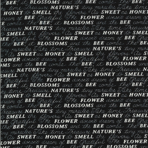 Bee Grateful Ebony Sweet Words Yardage by Deb Strain for Moda Fabrics