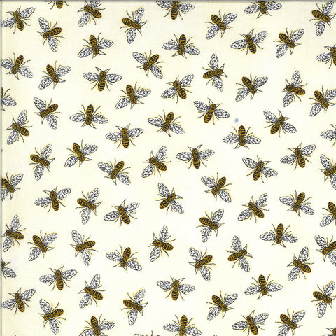 Bee Grateful Parchment Buzz Yardage by Deb Strain for Moda Fabrics