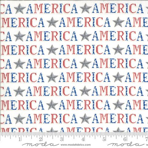 America The Beautiful White American Type Yardage by Deb Strain for Moda Fabrics