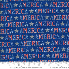 America The Beautiful Lake Blue American Type Yardage by Deb Strain for Moda Fabrics