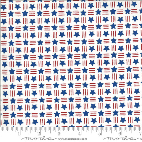 America The Beautiful White Stars Stripes Yardage by Deb Strain for Moda Fabrics