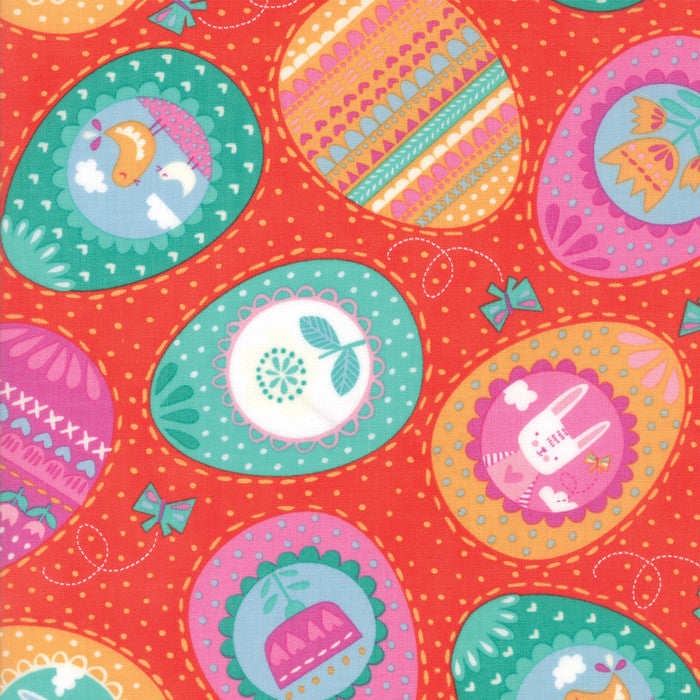 Spring Bunny Fun Geranium Eggs Yardage by Stacy Iest Hsu for Moda