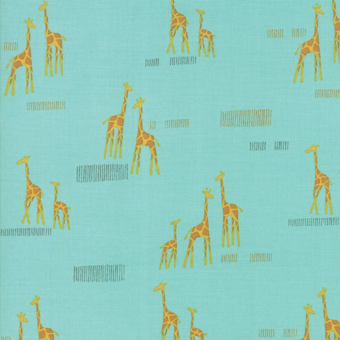 Safari Life Aqua Giraffe Life Yardage by Stacy Iest Hsu for Moda Fabrics