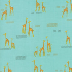 Safari Life Aqua Giraffe Life Yardage by Stacy Iest Hsu for Moda Fabric