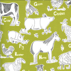 On The Farm Green Animal Farm Yardage by Stacy Iest Hsu for Moda Fabrics