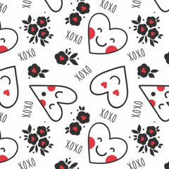 XOXO Red Personified Hearts yardage by Camelot Fabrics